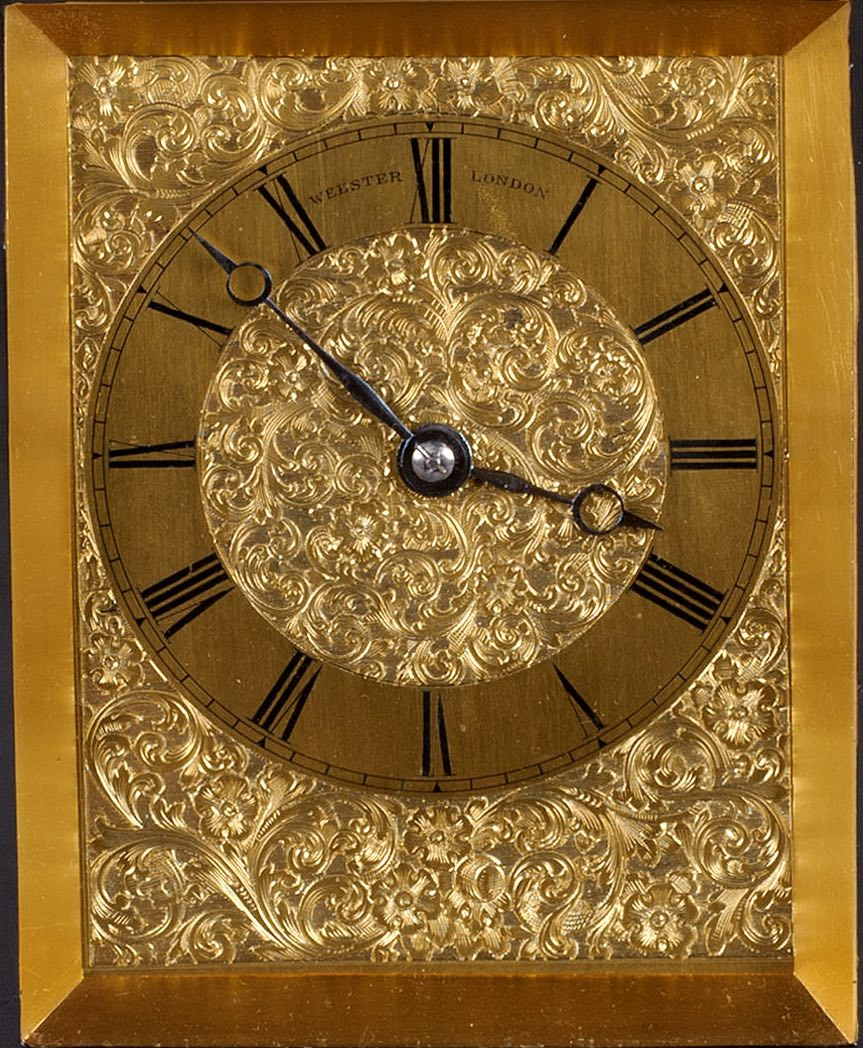 WEBSTER, CORNHILL, N°. 11405. A MID 19TH CENTURY QUARTER STRIKING EBONISED MANTEL CLOCK.