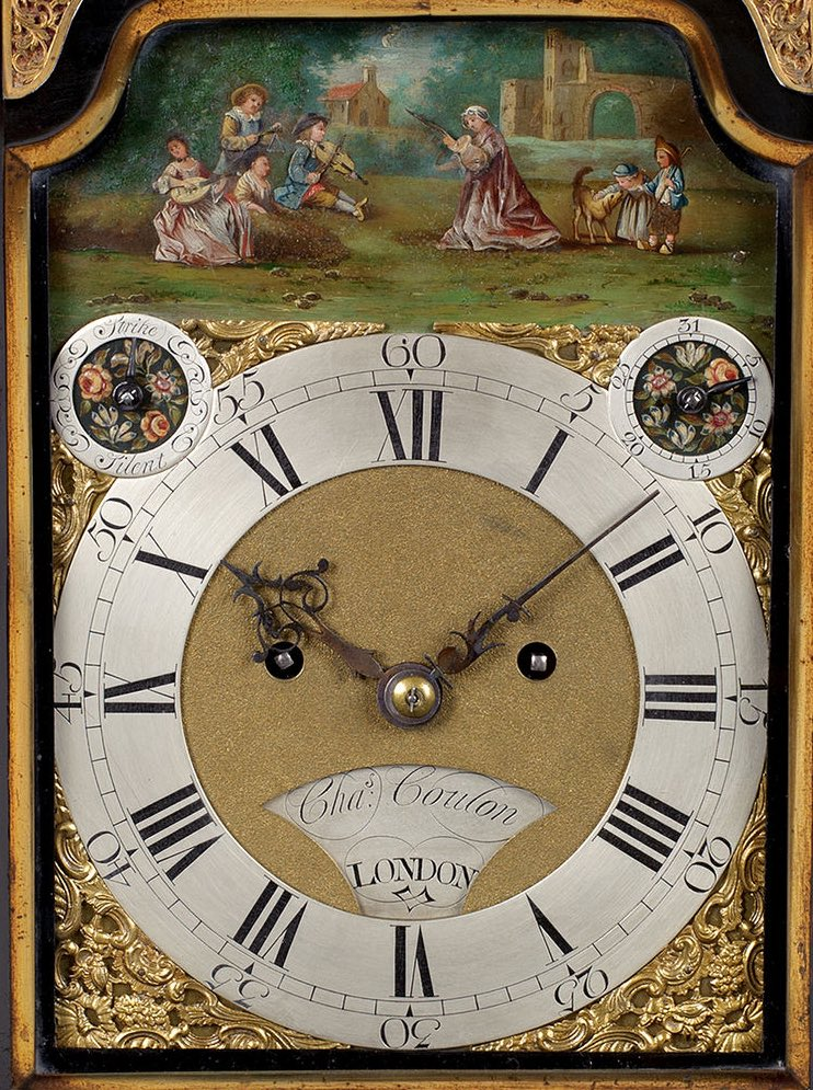 CHARLES COULON, A FINE GEORGE III EBONISED TABLE CLOCK WITH AUTOMATA.