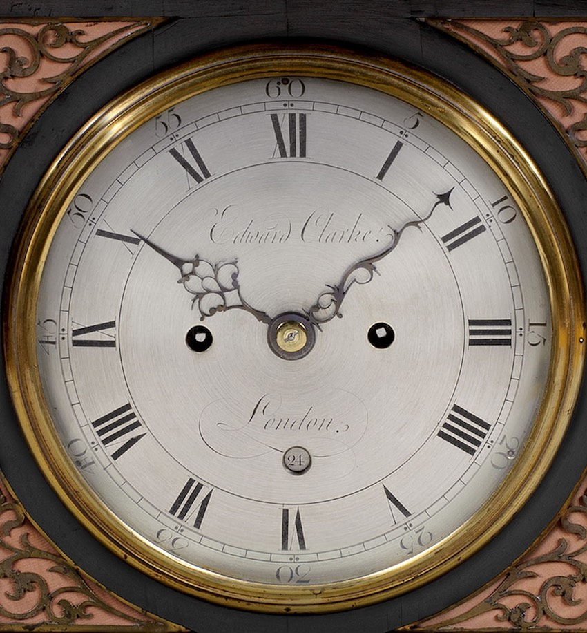 EDWARD CLARKE. A GOOD LATE GEORGE III PERIOD SILVERED DIAL EBONISED BRACKET CLOCK BY THIS EXCELLENT MAKER.
