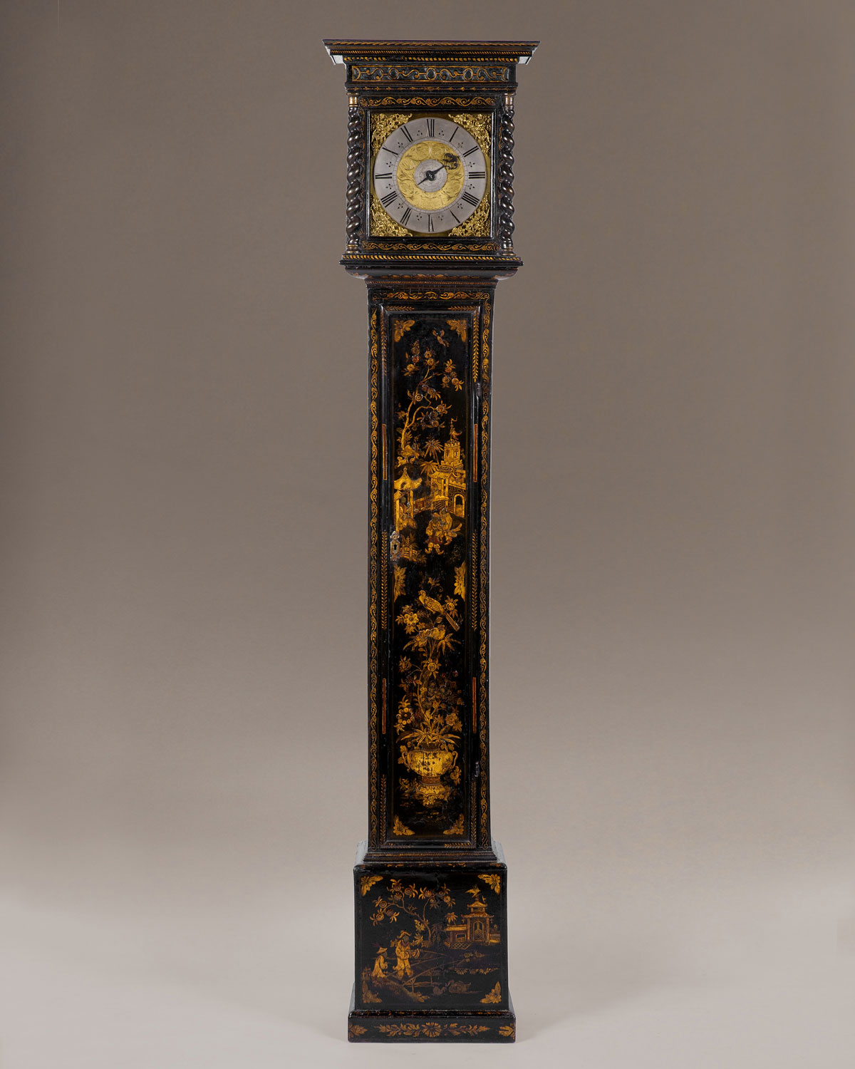 THOMAS TOMPION LONDINI FECIT. A rare Charles II period black and gilt chinoiserie longcase clock with alarm.