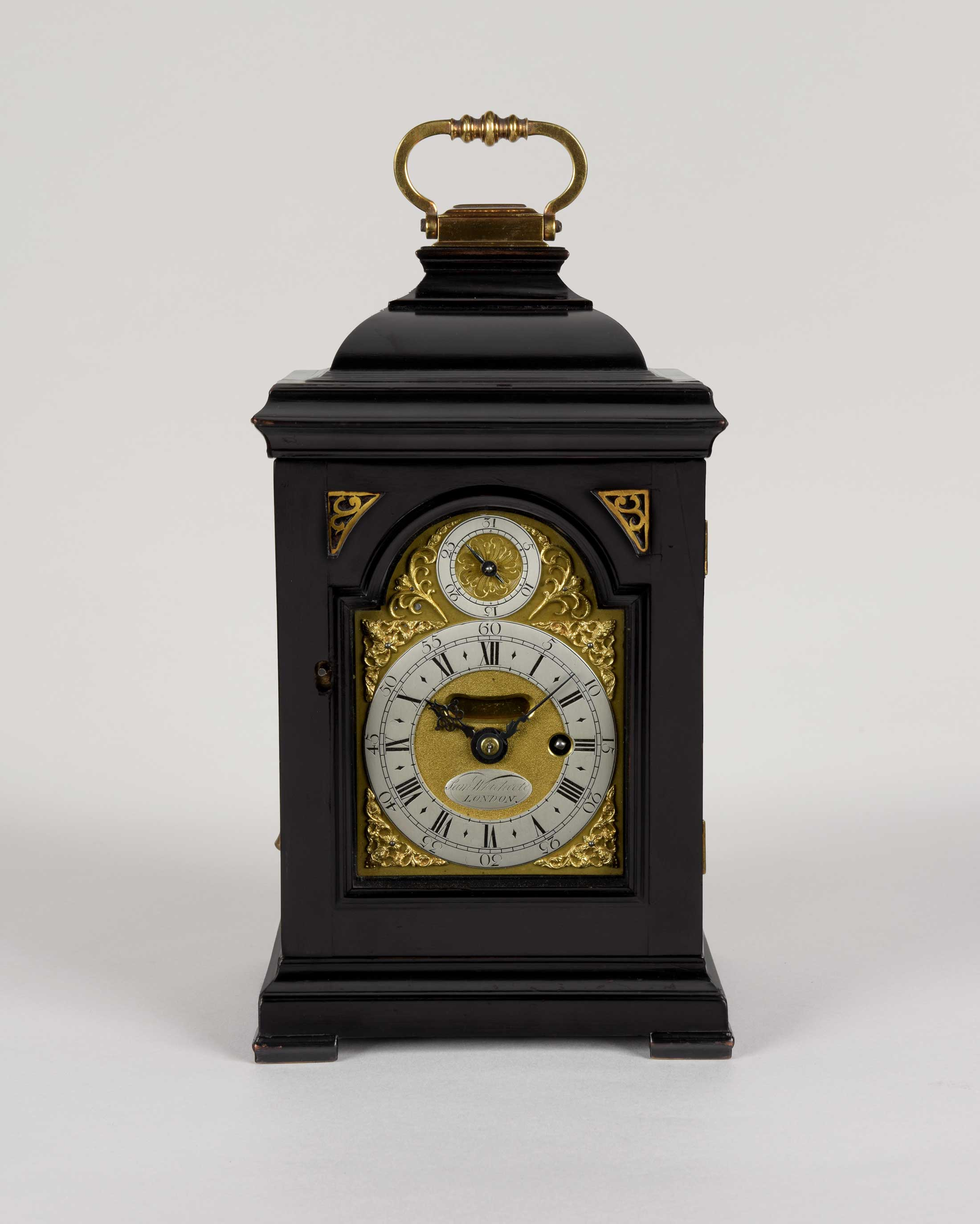 SAMUEL WHICHCOTE. A George II period ebonised timepiece. miniature