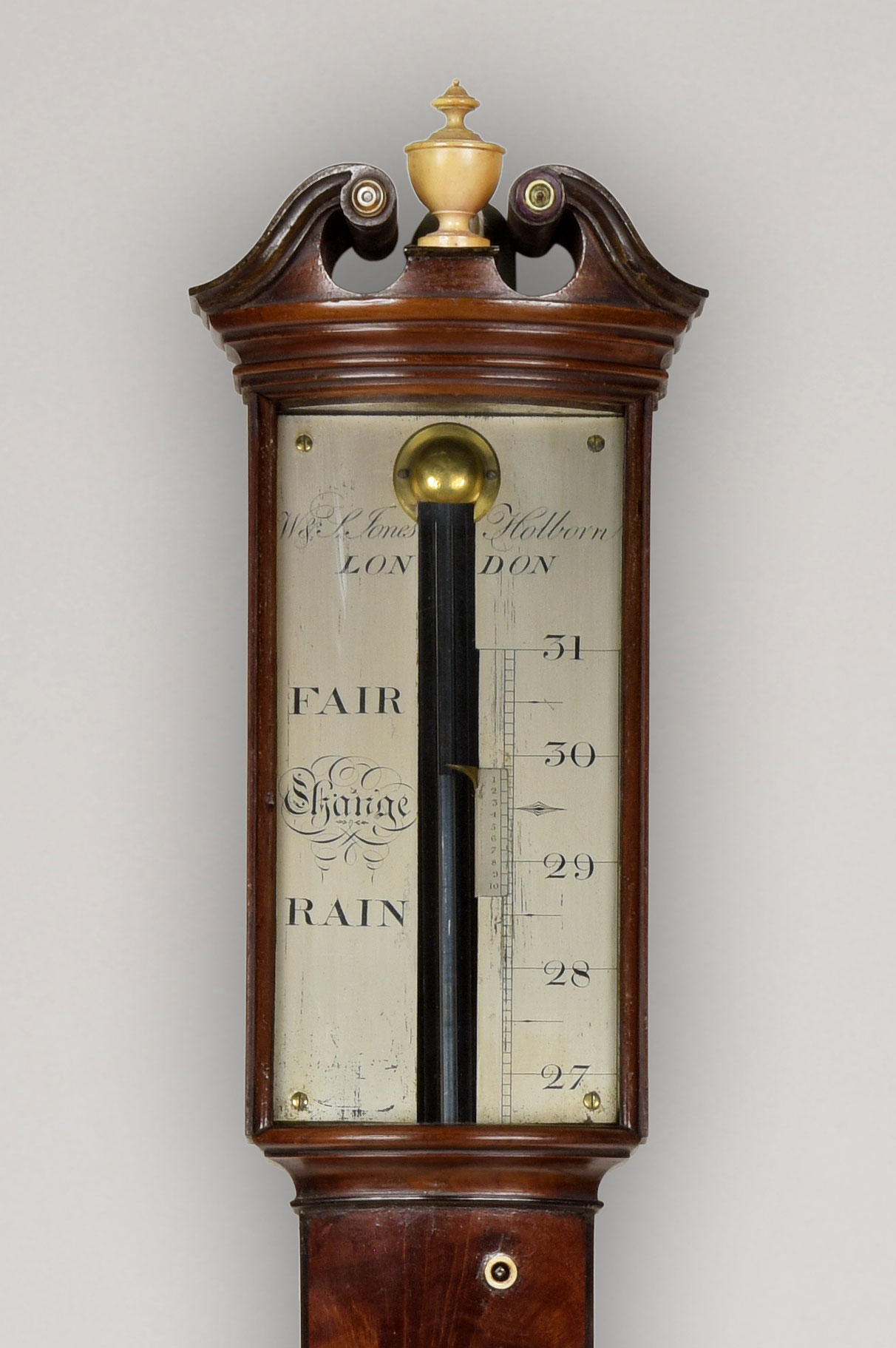 W & S JONES, HOLBORN. A fine George III bow front stick barometer
