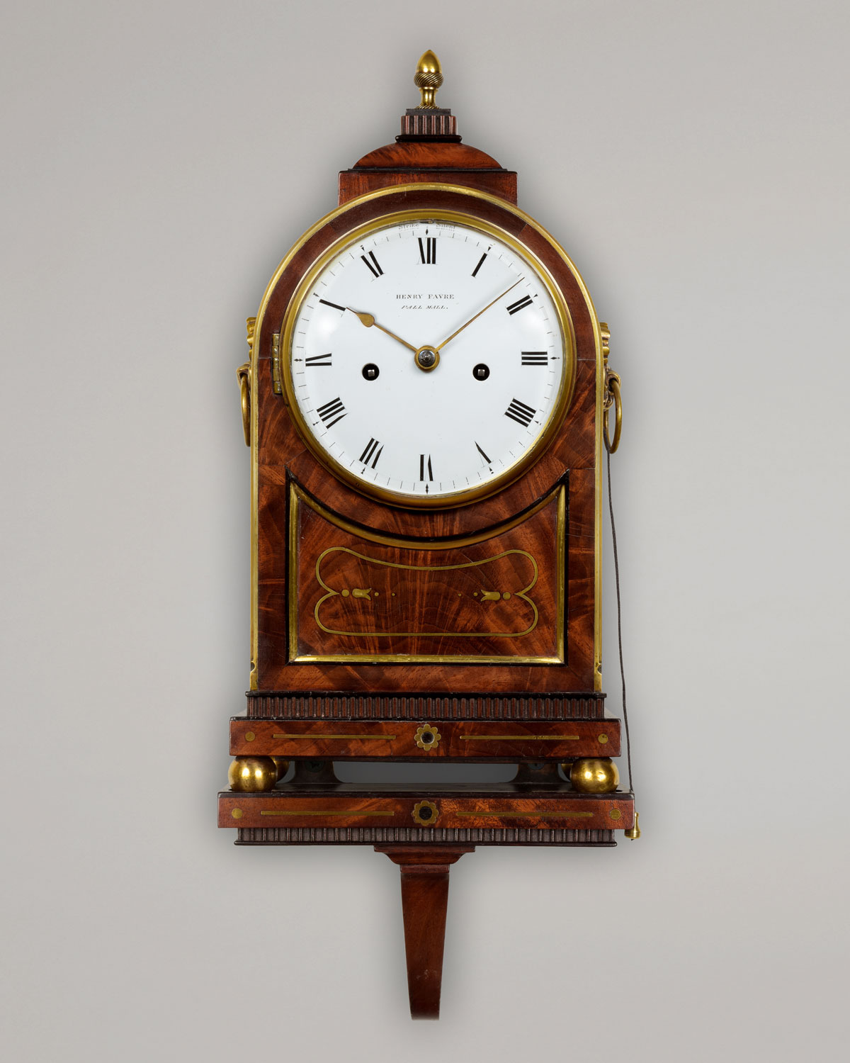 HENRY FAVRE, PALL MALL, LONDON. A fine small English Regency period enamel dial bracket clock