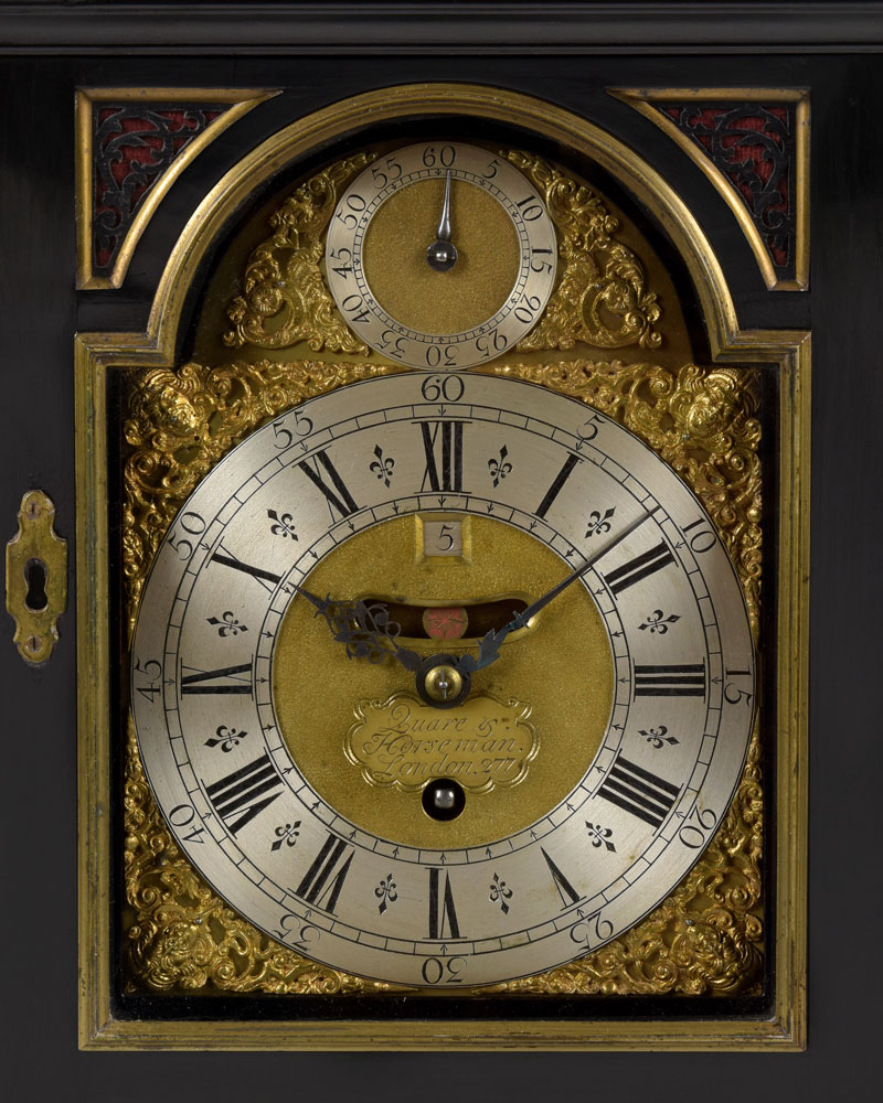 DANIEL QUARE & STEPHEN HORSEMAN LONDON N°277.  A fine George I period arched dial ebony veneered table clock