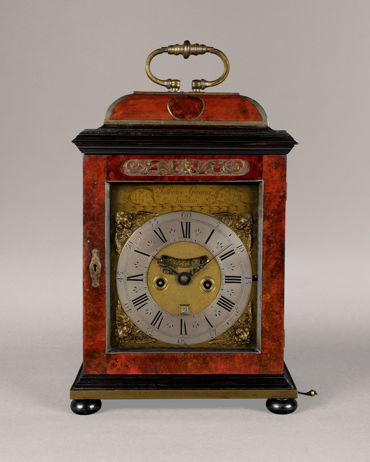 ANTHOINE GUIGUER RARE WILLIAM III PERIOD PEWTER INLAID TORTOISESHELL QUARTER REPEATING BRACKET CLOCK