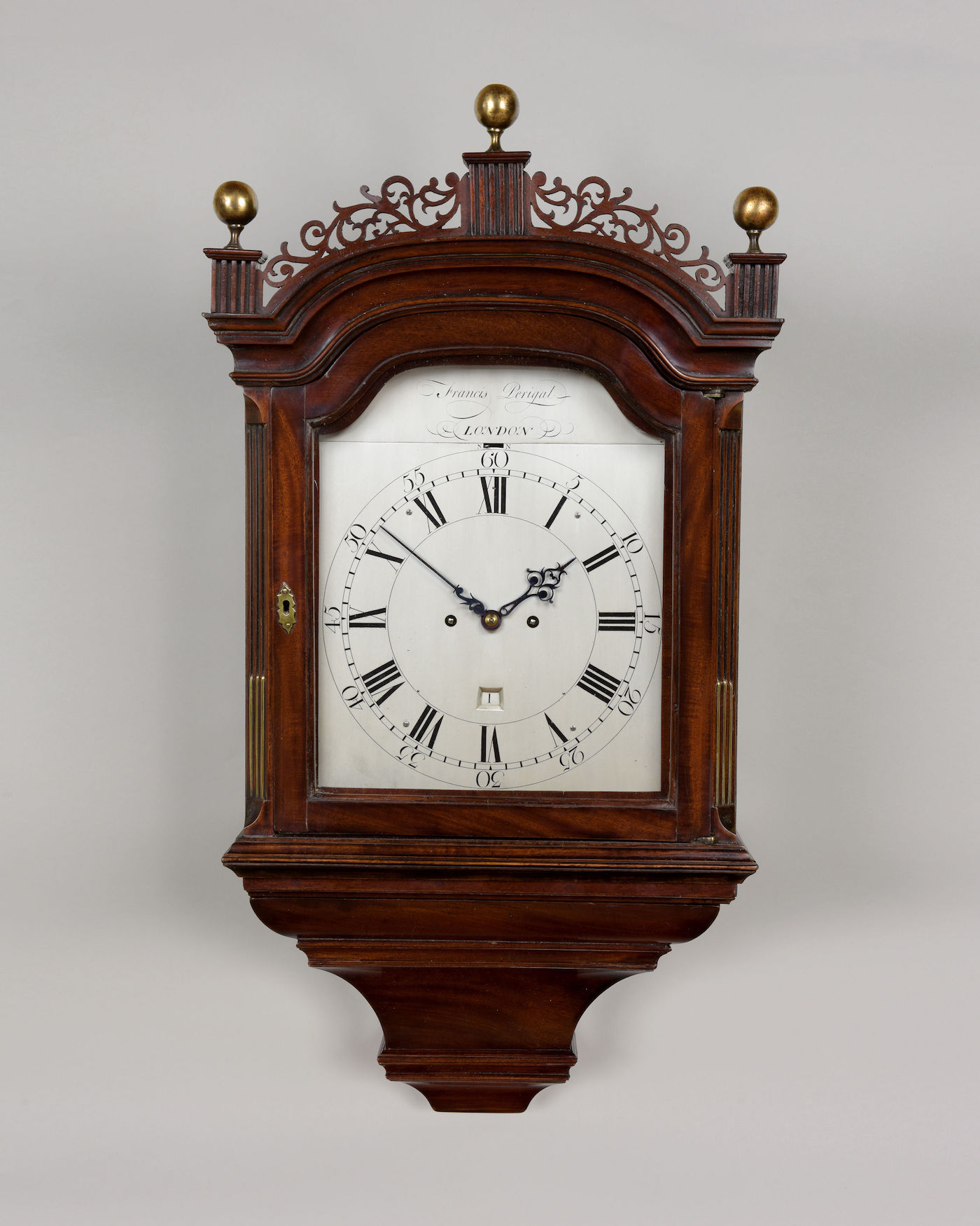 FRANCIS PERIGAL. A FINE GEORGE III PERIOD HOODED WALL CLOCK BY THIS EMINENT MAKER.