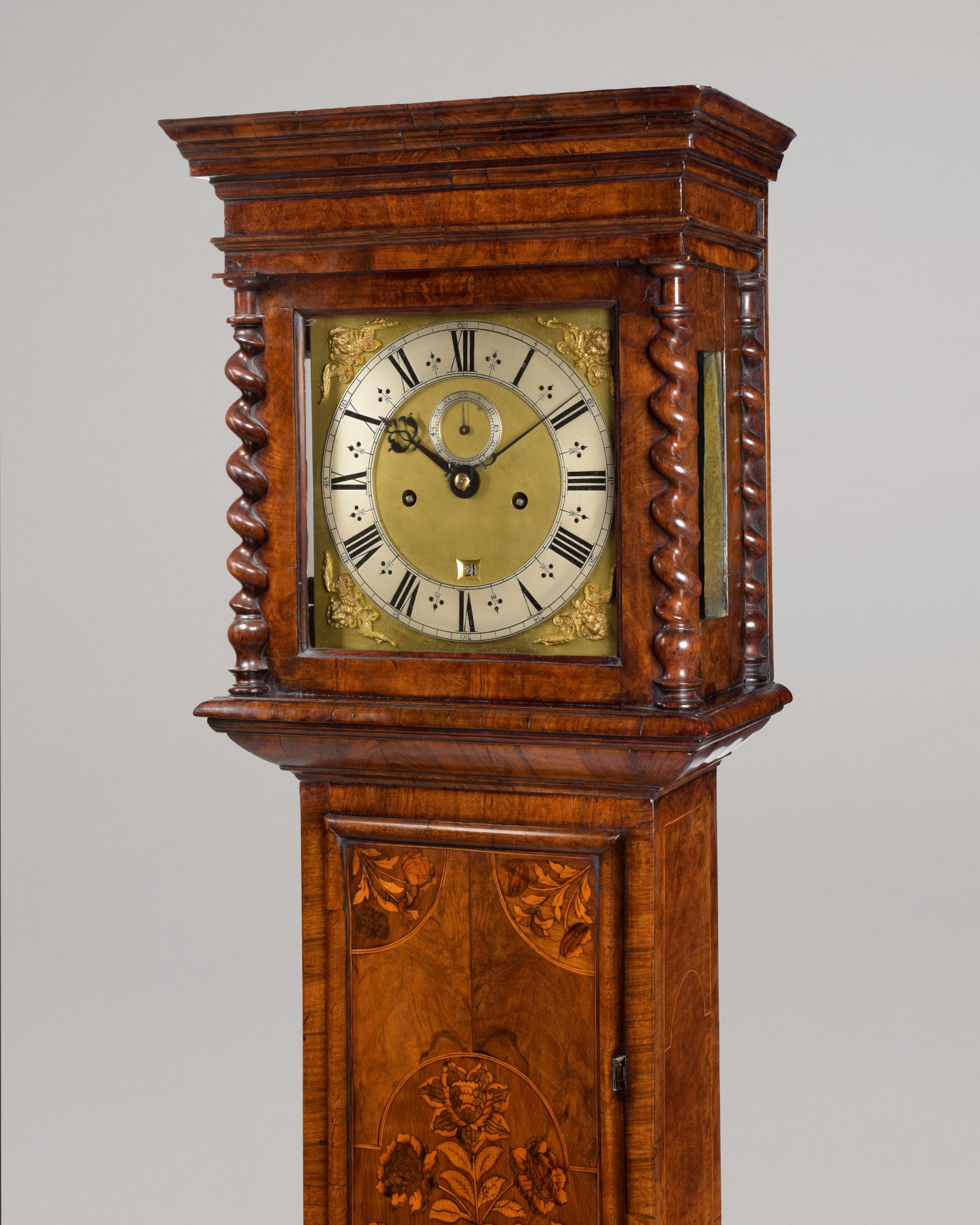 WILLIAM KNOTTESFORD LONDINI. A FINE JAMES II PERIOD WALNUT FLORAL MARQUETRY LONGCASE CLOCK.