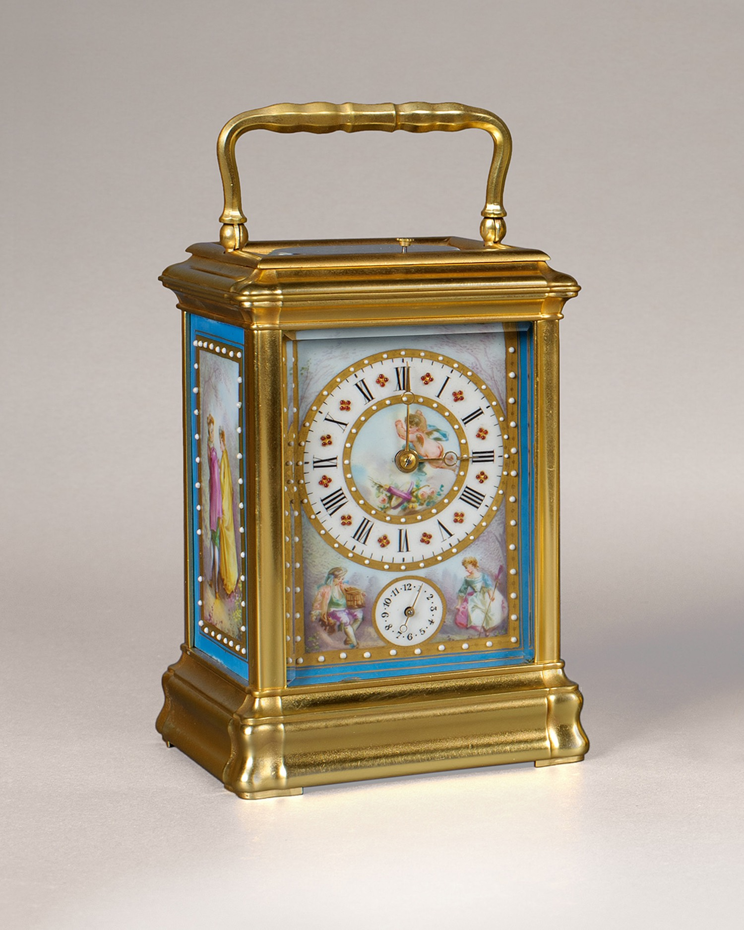 A FINE 'SEVRES' PORCELAIN PANELLED CARRIAGE CLOCK