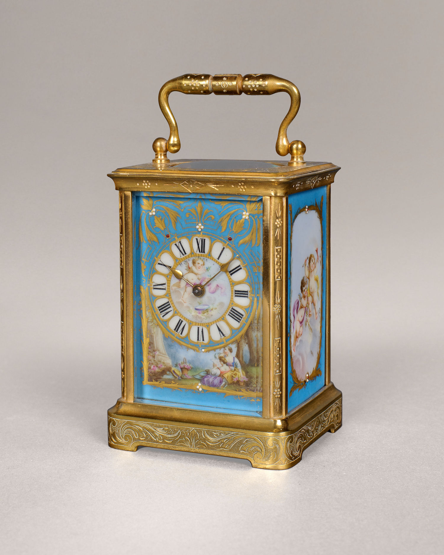 A GOOD BLEU DE CIEL PORCELAIN PANELLED CARRIAGE TIMEPIECE