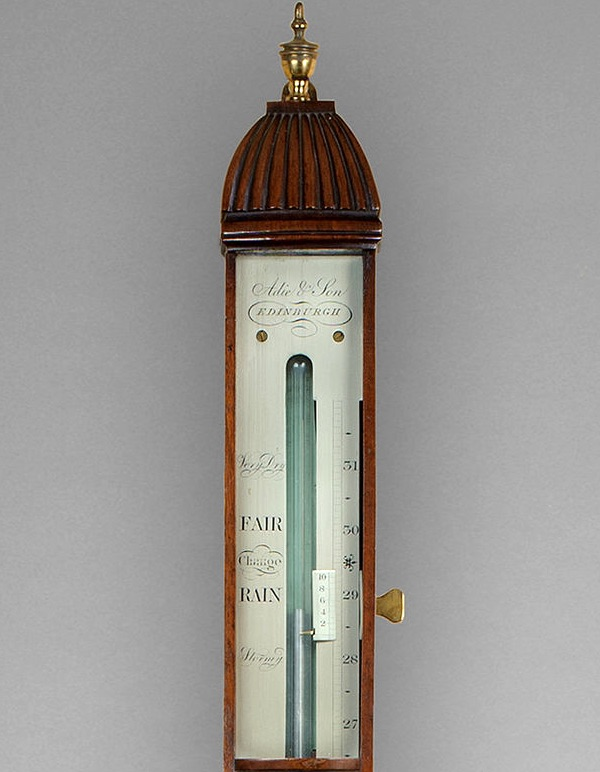 ADIE & SON. A SUPERB QUALITY FIGURED MAHOGANY BOWFRONT STICK BAROMETER BY THE MOST FAMOUS EDINBURGH ROYAL INSTRUMENT MAKER.