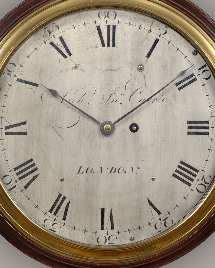 ARCHIBALD JOHN CURRIE. A FINE ENGLISH DIAL TIMEPIECE WITH VERGE ESCAPEMENT.