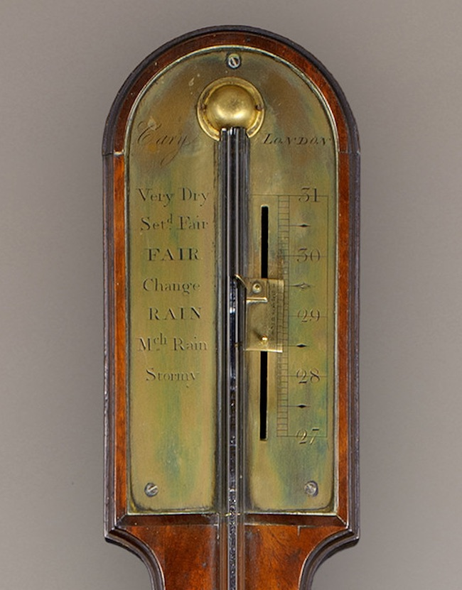 CARY, LONDON A 19TH CENTURY MAHOGANY PADDLETOP STICK BAROMETER