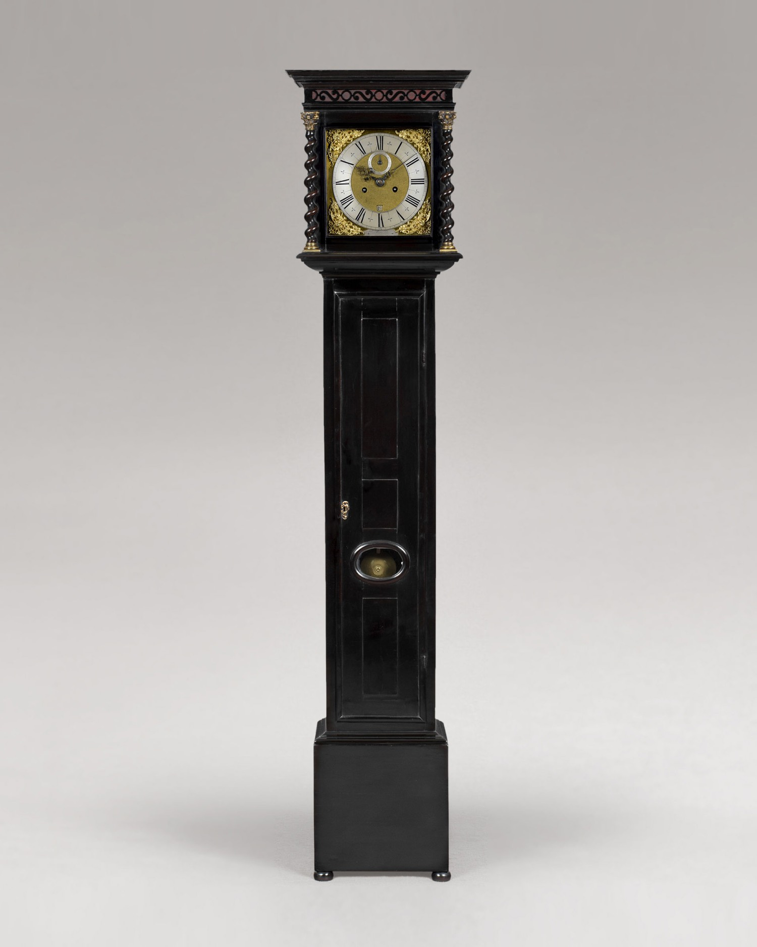 CHARLES GRETTON A SMALL AND RARE CHARLES II PERIOD EBONY LONGCASE CLOCK.