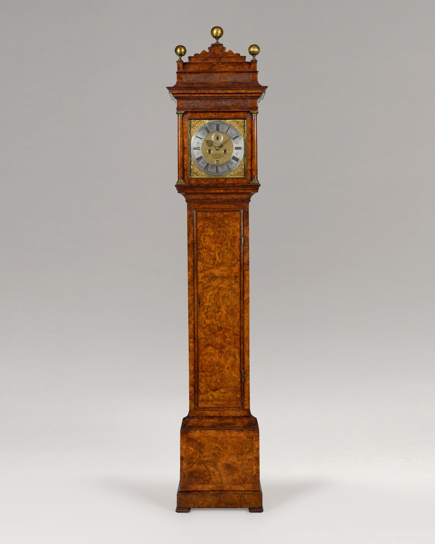 CHRISTOPHER GOULD. AN EXCEPTIONAL QUEEN ANNE PERIOD BURR WALNUT LONGCASE CLOCK WITH SQUARE DIAL AND CADDY TOP BY THIS FAMOUS MAKER.