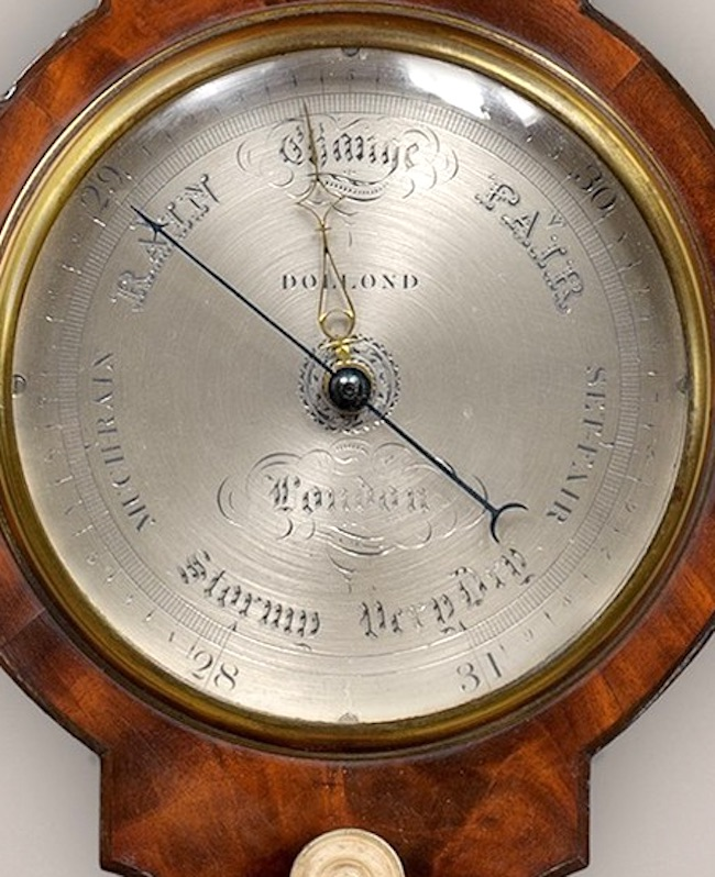 DOLLOND, LONDON, AN EARLY 19TH CENTURY MAHOGANY BANJO BAROMETER OF RARE SMALL SIZE