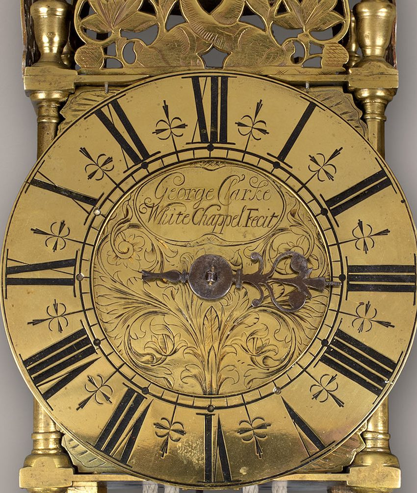 GEORGE CLARKE. A GOOD 18TH CENTURY LONDON THIRD PERIOD LANTERN CLOCK