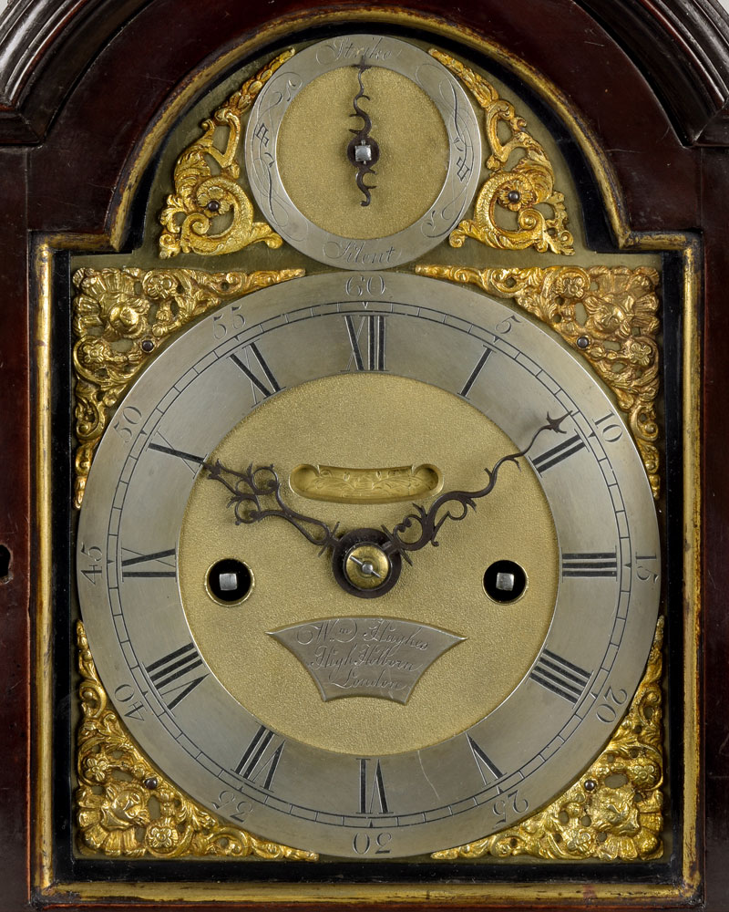WILLIAM HUGHES, HIGH HOLBORN. A fine miniature ebonised striking bracket clock of rare small size.