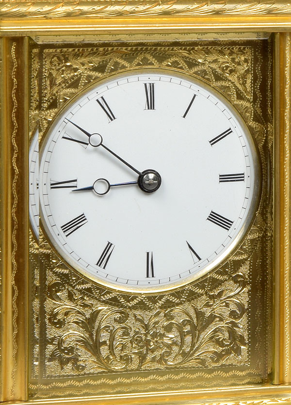 DROCOURT À PARIS, N° 11108. A fine French gorge cased gilt brass engraved carriage clock
