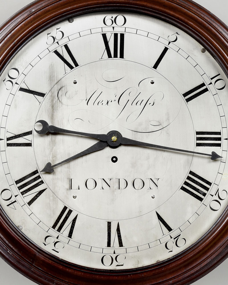 ALEX GLASS, LONDON.  A fine silvered dial English wall clock