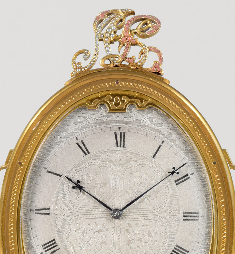 THOMAS COLE - For H & C Tessier N° 1708.  An exceptional gilt engraved Cheval type timepiece by this famous maker.