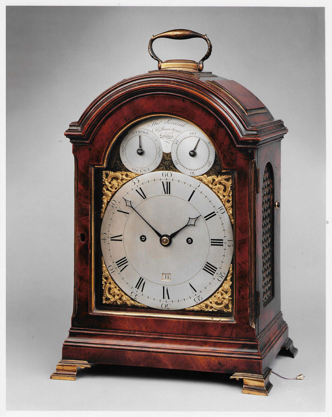 THOMAS PERCIVAL, OLD BOND STREET. A fine 3-pad mahogany bracket clock by this excellent maker.