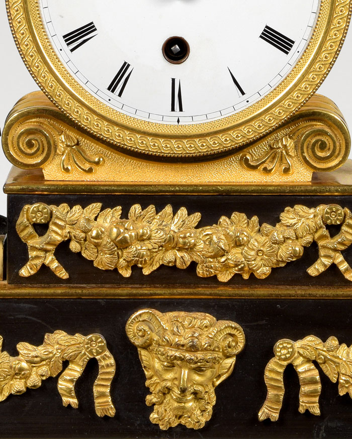 English Regency bronze and ormolu mounted library timepiece