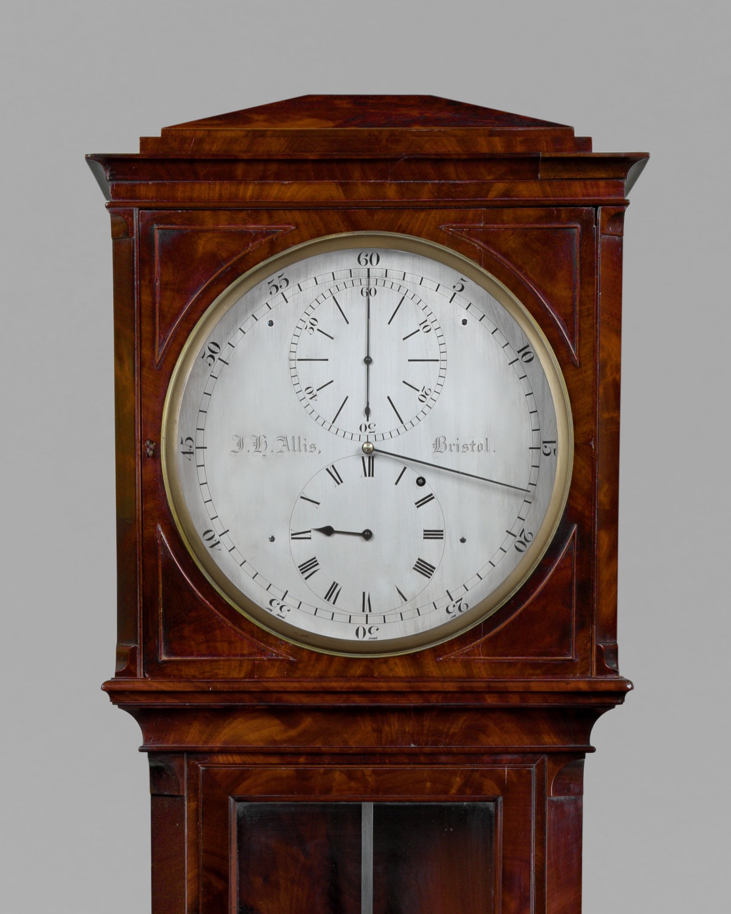 J. H. ALLIS. AN EXCEPTIONAL REGENCY PERIOD MAHOGANY LONGCASE REGULATOR.