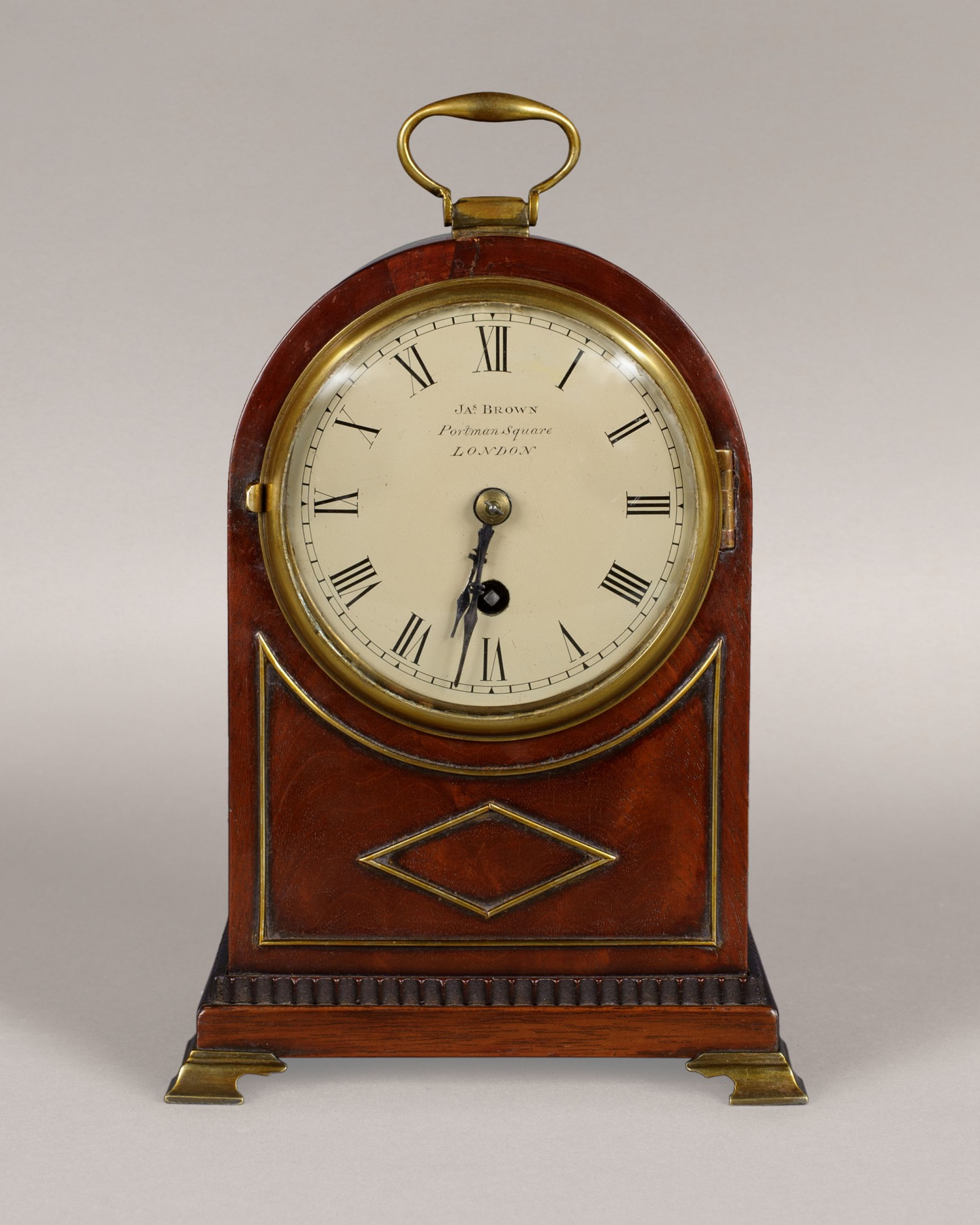 JAMES BROWN. A GOOD 19TH CENTURY MAHOGANY TIMEPIECE MANTEL CLOCK.