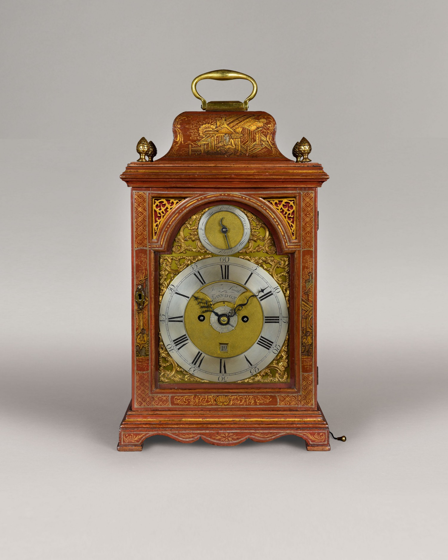 JAMES SMITH. A FINE GEORGE III PERIOD RED LACQUER ALARM TABLE CLOCK.