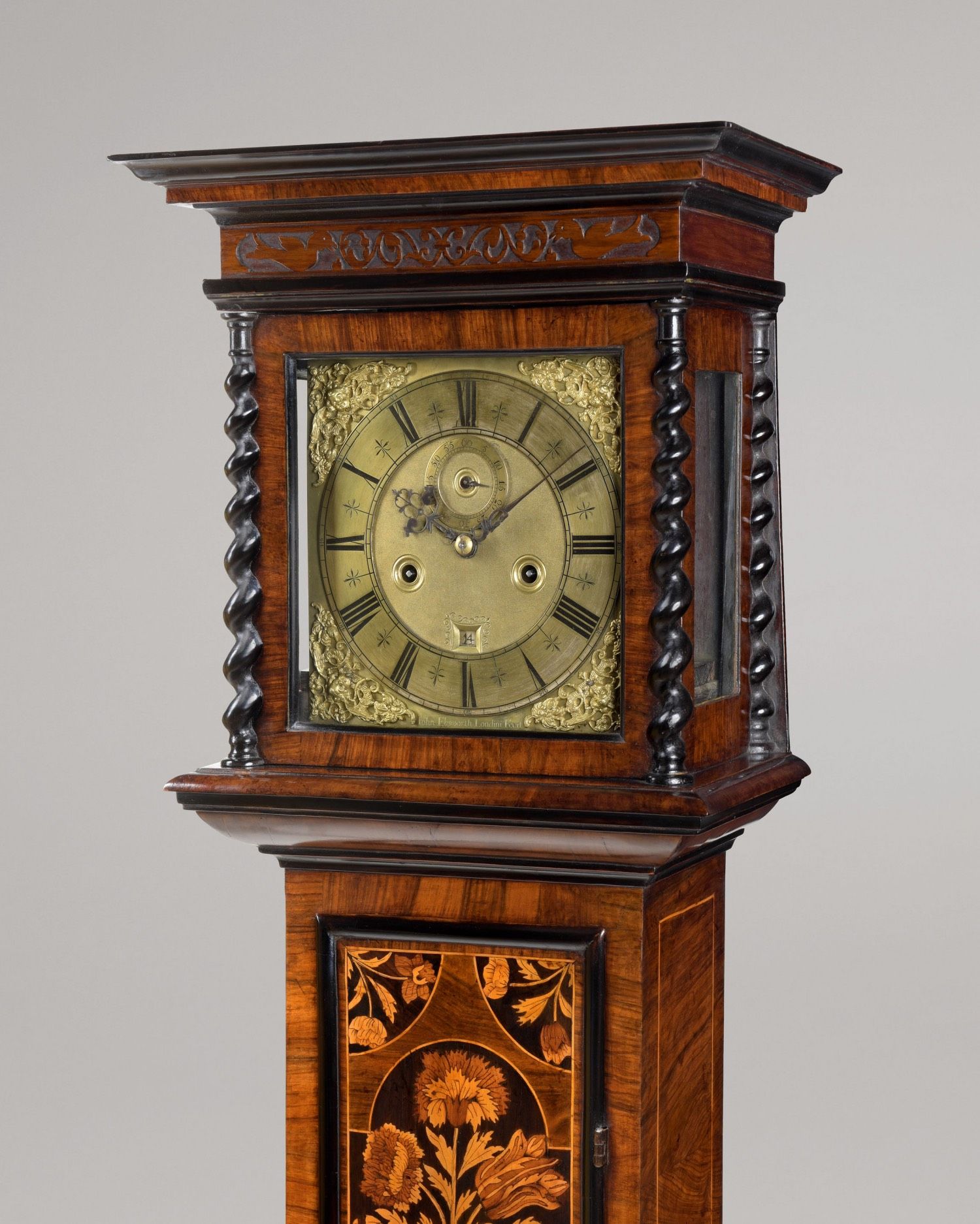 JOHN EBSWORTH LONDINI FECIT. A FINE WILLIAM III PERIOD FLORAL MARQUETRY AND WALNUT 8-DAY LONGCASE CLOCK OF RARE SMALL SIZE.