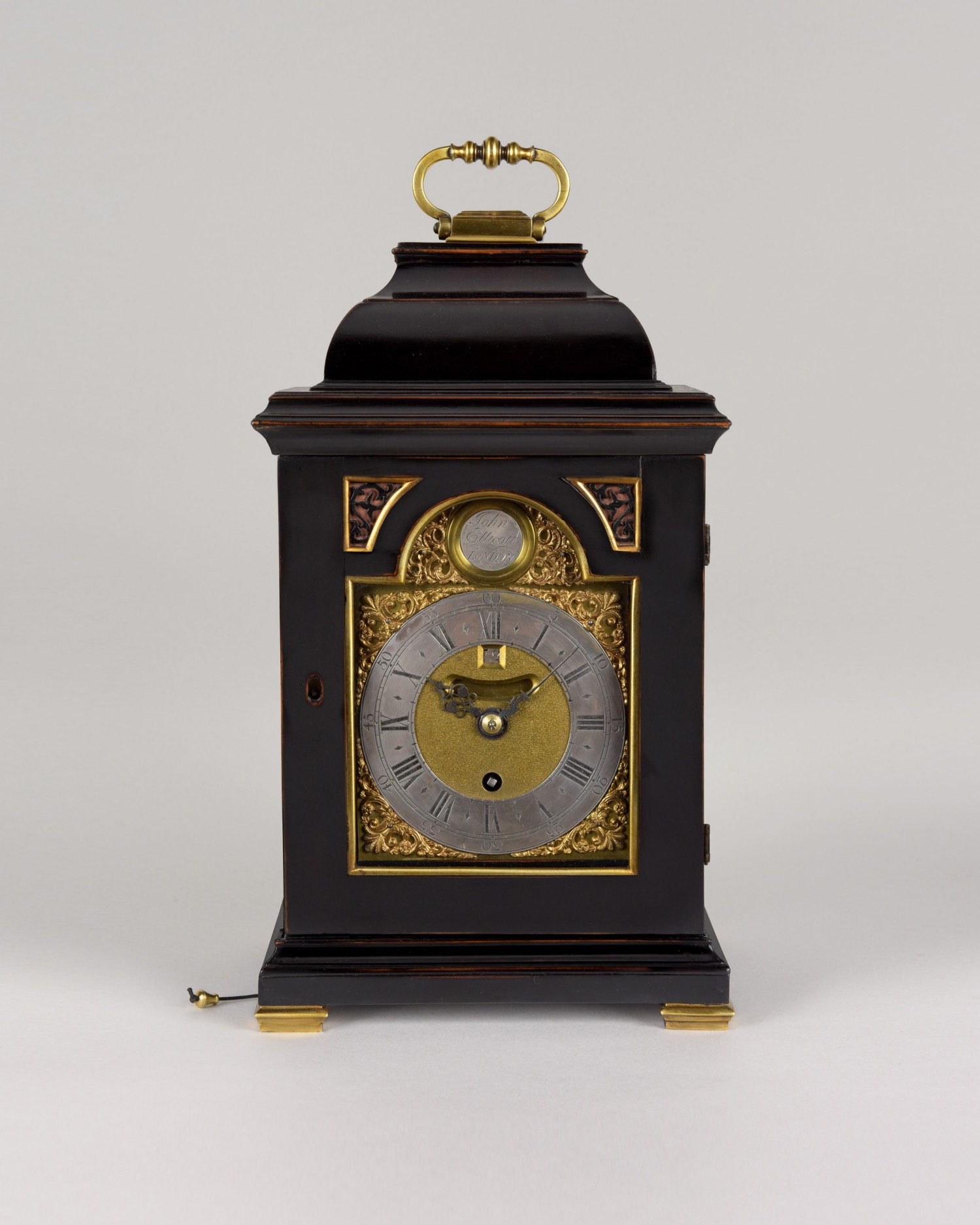 JOHN ELLICOTT. A GOOD GEORGE II PERIOD EBONISED PEARWOOD TIMEPIECE BRACKET CLOCK OF SMALL SIZE