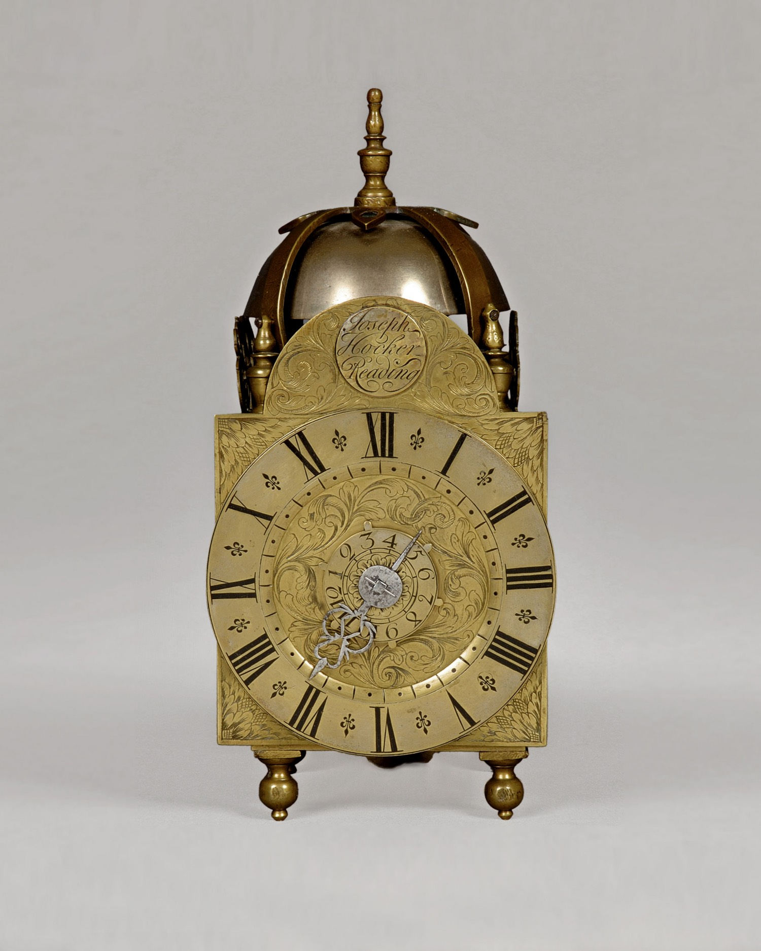 JOSEPH HOCKER. QUEEN ANNE PERIOD LANTERN CLOCK WITH ALARM AND HOUR STRIKE.
