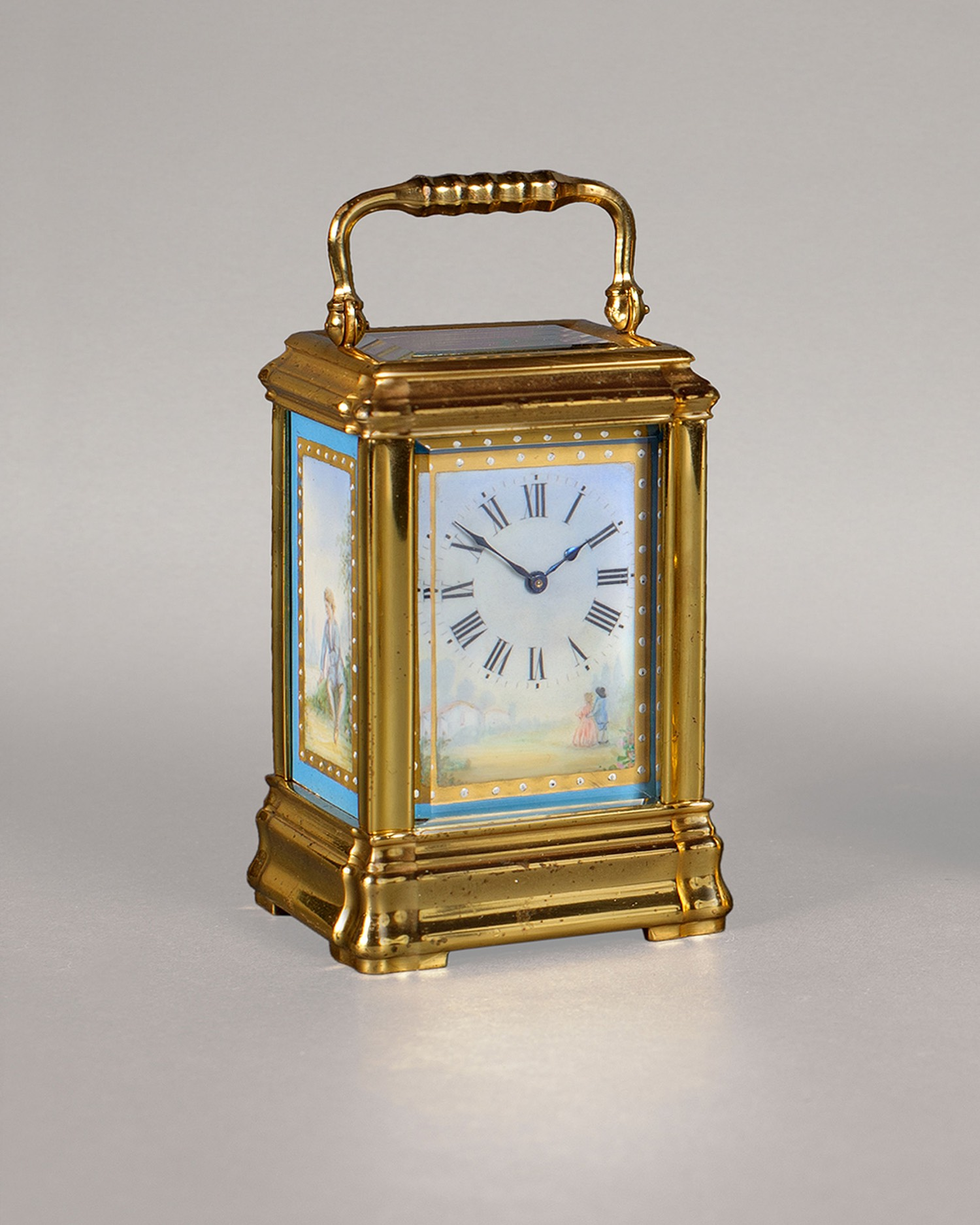 MINIATURE PORCELAIN PANELLED CARRIAGE TIMEPIECE