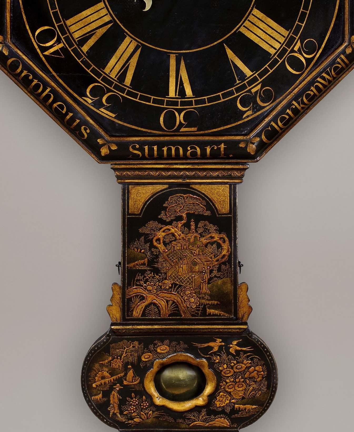 ORPHEUS SUMART, CLERKENWELL. AN EXCEPTIONALLY RARE, EARLY OCTAGONAL DIAL TAVERN TIMEPIECE BY THIS WELL-KNOWN EARLY MAKER.