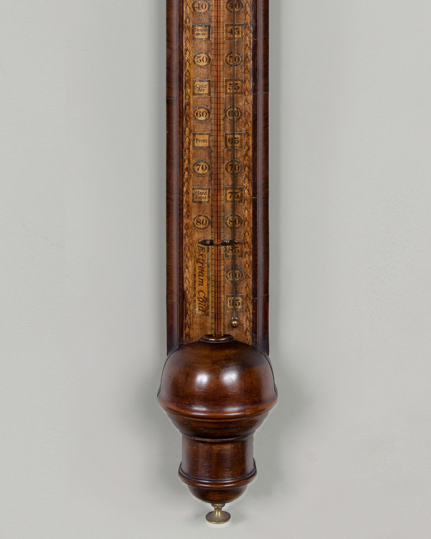 QUEEN ANNE PERIOD WALNUT STICK BAROMETER
