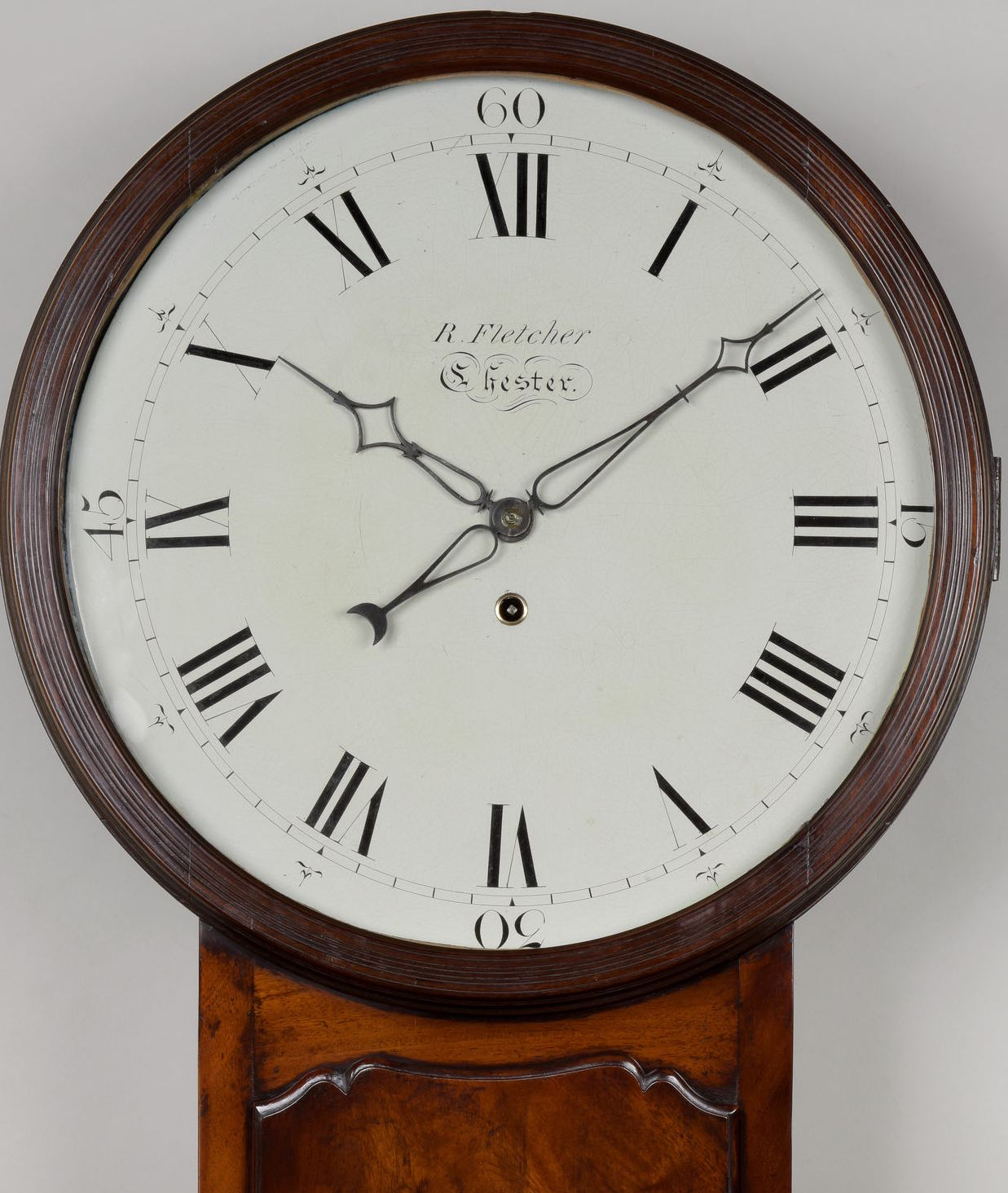 R. FLETCHER, CHESTER. A GOOD LATE GEORGE III PERIOD MAHOGANY TAVERN TIMEPIECE.