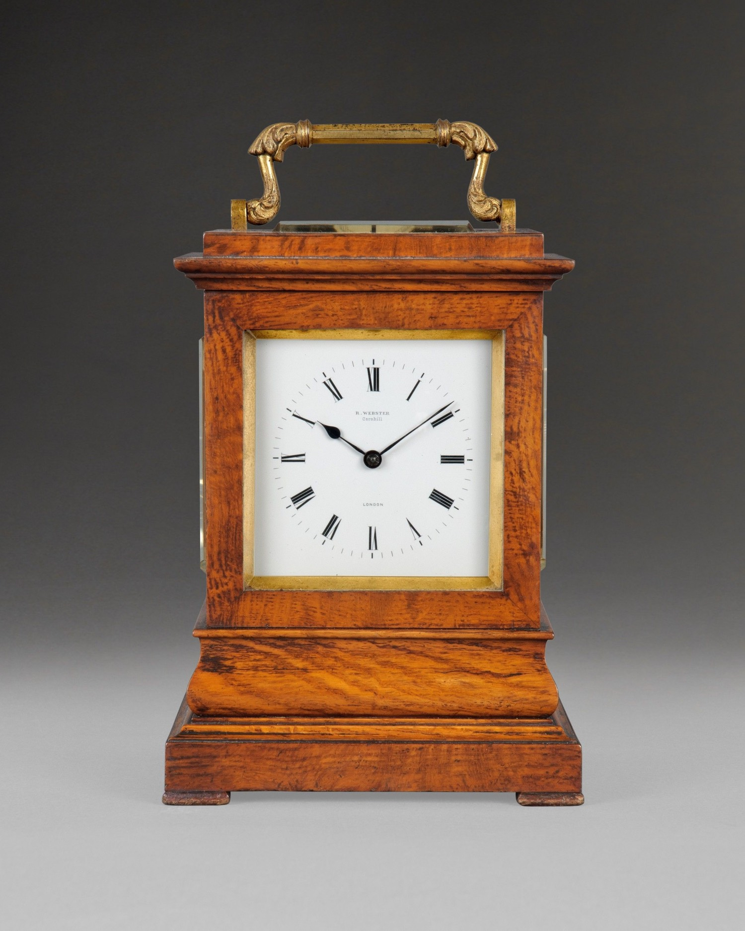 RICHARD WEBSTER A MID 19TH CENTURY BURR OAK TRAVELLING CLOCK