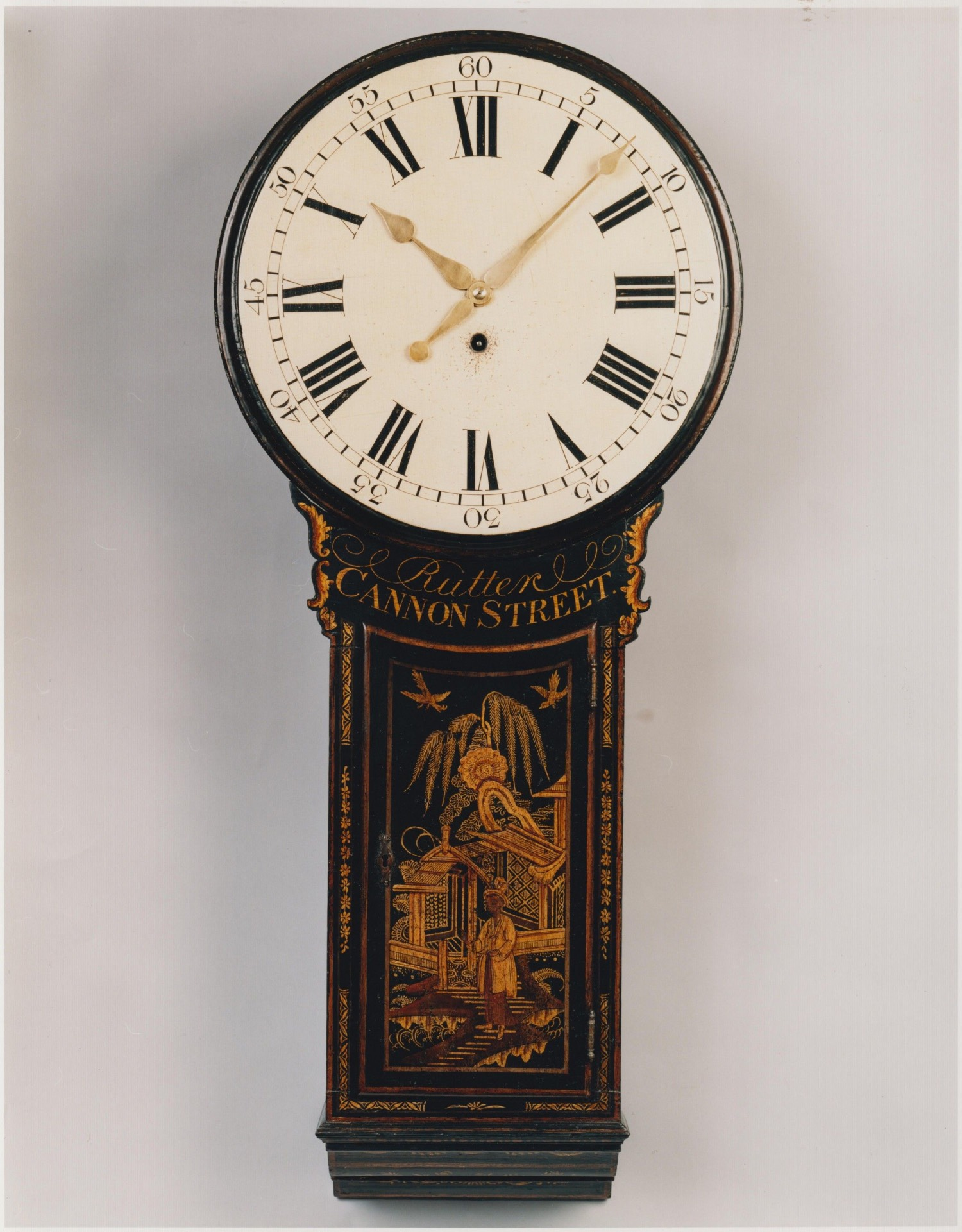 RUTTER, CANNON STREET, A FINE AND UNUSUALLY SMALL LACQUERED TAVERN TIMEPIECE