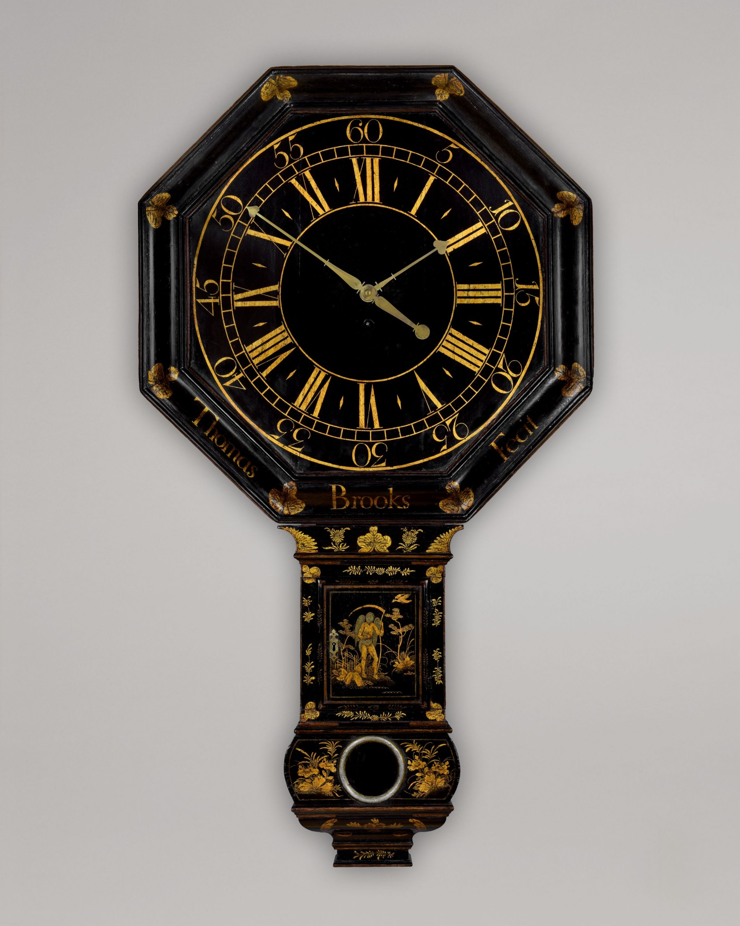 THOMAS BROOKS FECIT. A RARE, EARLY SHIELD DIAL TAVERN CLOCK BY THIS UNUSUAL EARLY MAKER.