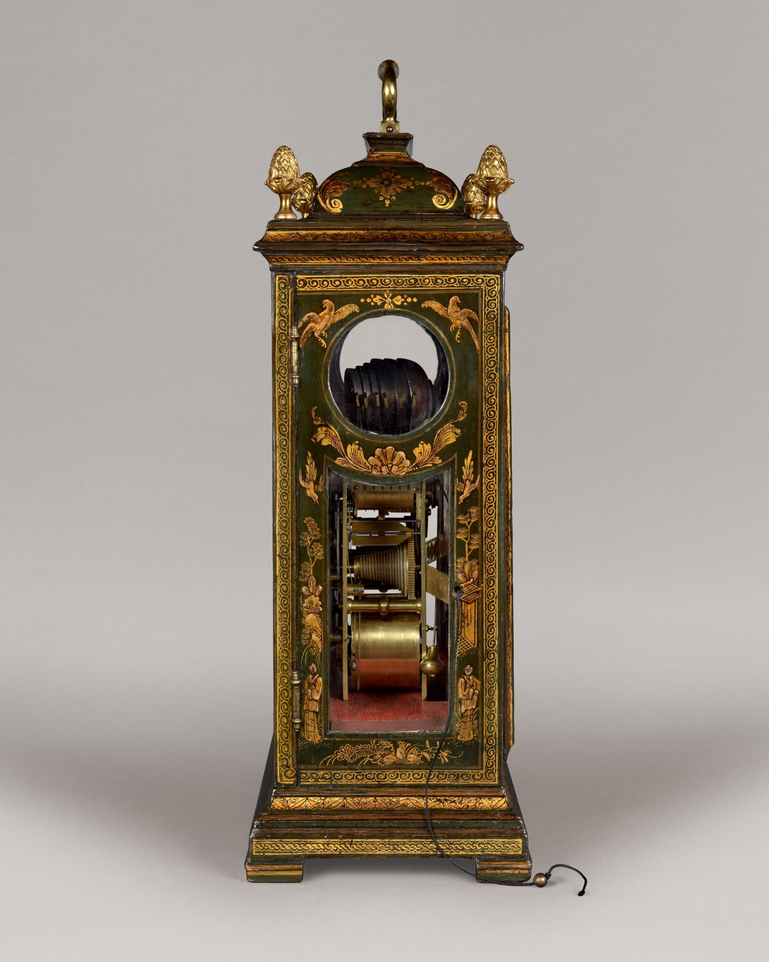 THOMAS GARDNER. A HANDSOME 18TH CENTURY GREEN AND GILT LACQUER TABLE CLOCK.