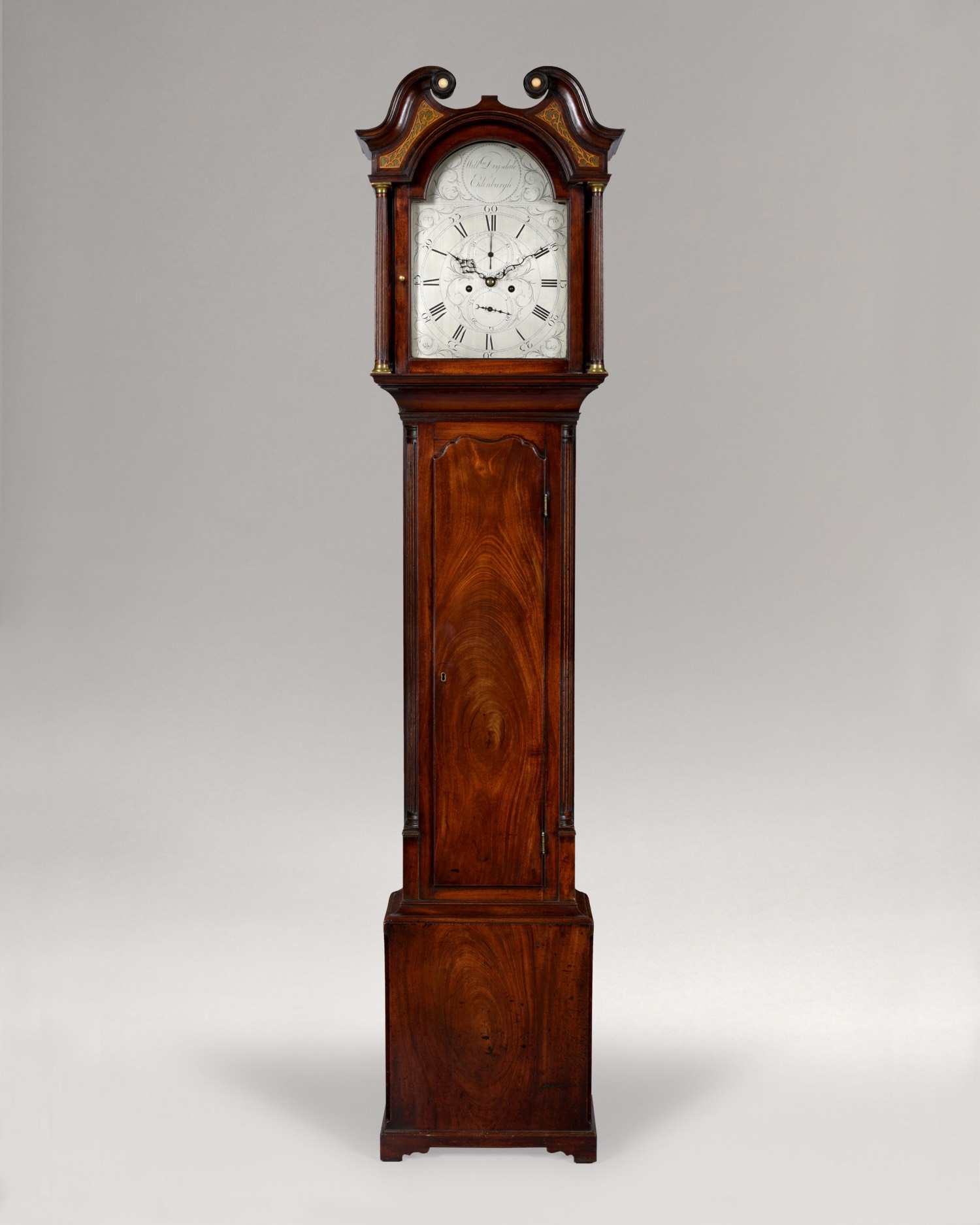 WILLIAM DRYSDALE. A FINE GEORGE III PERIOD SCOTTISH SILVERED DIAL LONGCASE.