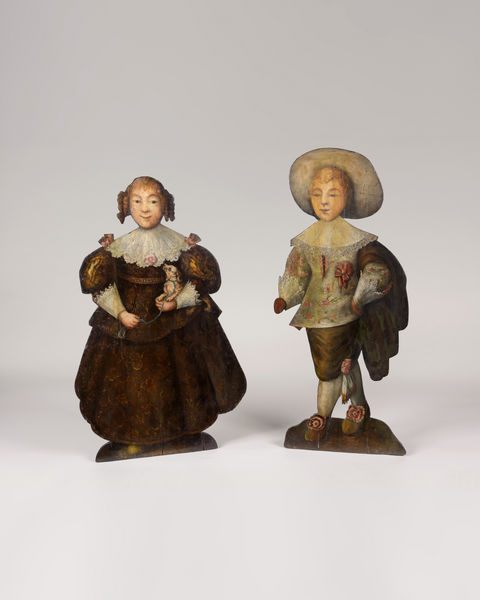 WILLIAM & MARY PERIOD DUMMY BOARDS. A RARE PAIR OF ENGLISH POLYCHROME PINE DUMMY BOARDS